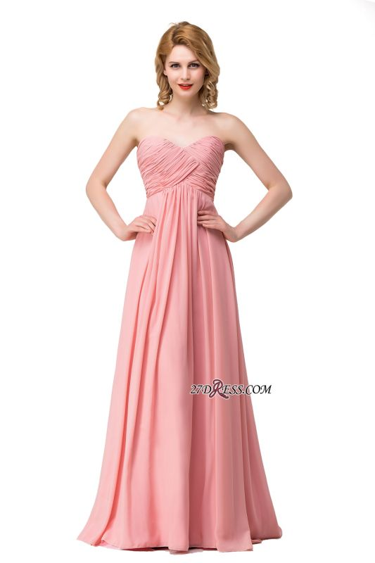 Bridesmaid Floor-Length Simple Chiffon Dress Ruffled Strapless Prom Dress