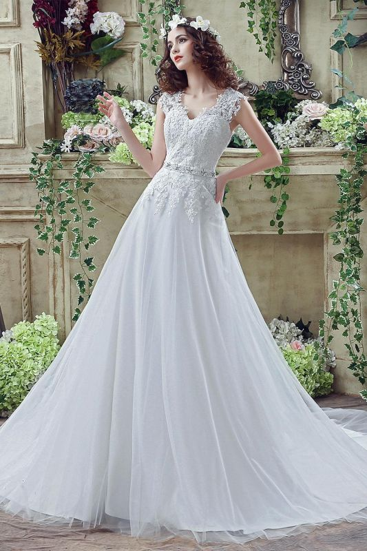 Timeless Lace Appliques Tulle 2020 Wedding Dress Cap Sleeve Beadings Zipper