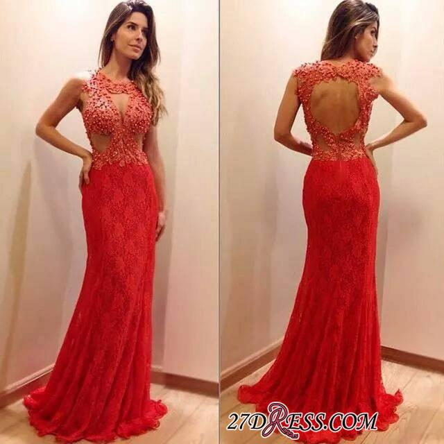 2020 Newest Sleeveless Mermaid Lace-Appliques Sweep-Train Prom Dress