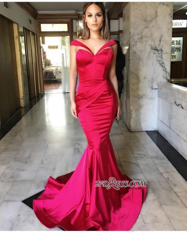 Sweep-Train Mermaid Off-the-Shoulder Sleeveless Sexy Prom Dresses