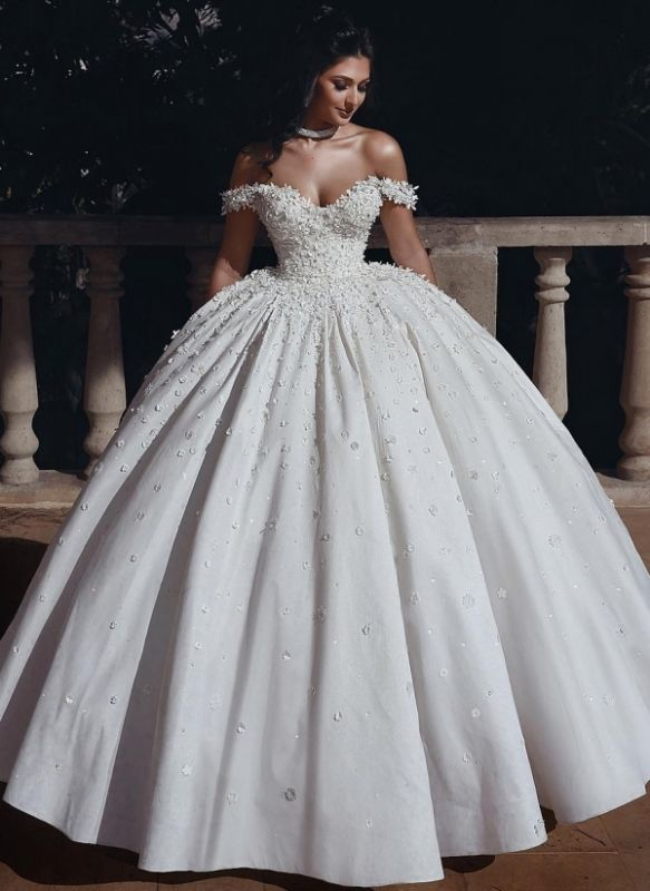 Elelgant Off Shoulder Beaded Bridal Gowns Flowers Ball Gown Wedding Dress