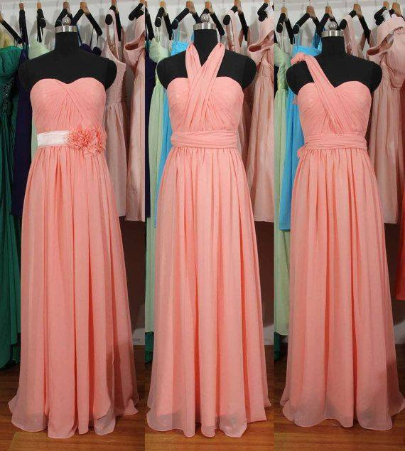 Simple A-Line Chiffon Convertible Bridesmaid Gowns Ruffles Evening Dresses