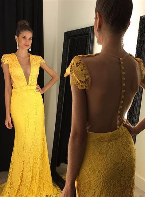 Modern Yellow V-neck 2020 Prom Dress Cap Sleeve Lace AP0