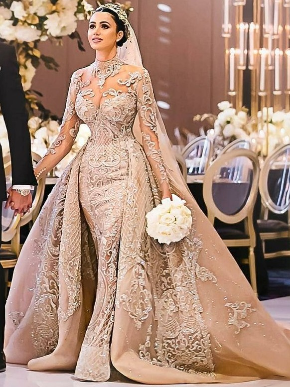 Luxury Long Sleeves Ball Gown Wedding Dresses | High Neck Over Skirt Bridal Gowns BC0918