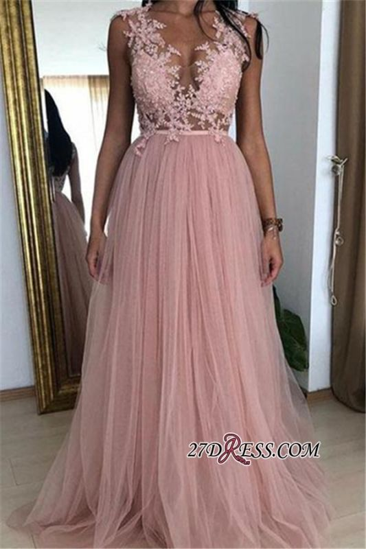 Newest Straps A-Line Tulle Evening Dresses | Pink Appliques Sleeveless Empire Cheap Prom Dresses