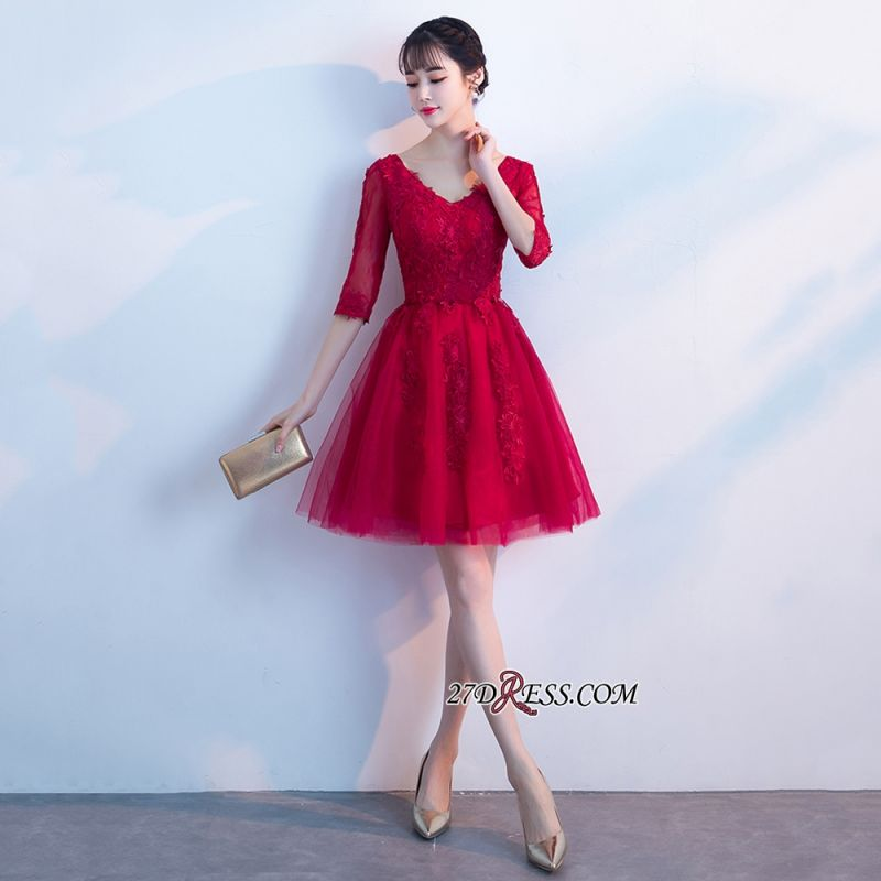 Short Appliques Lace Half-Sleeves Cheap See-Through V-neck Homecoming Dresses