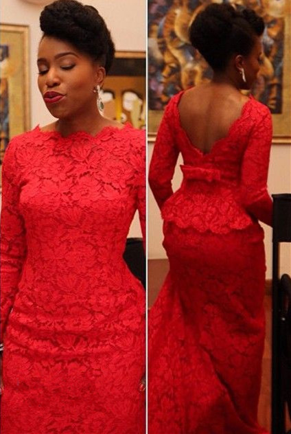 Sexy Red Lace Evening Dress 2020 Long On Sale