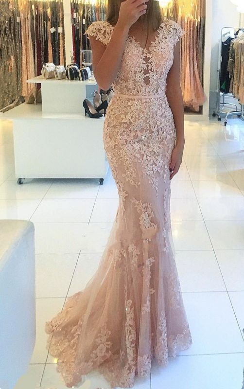Charming V-Neck Cap Sleeves Lace Evening Gowns | Long Mermaid Tulle Prom Dress BC0397