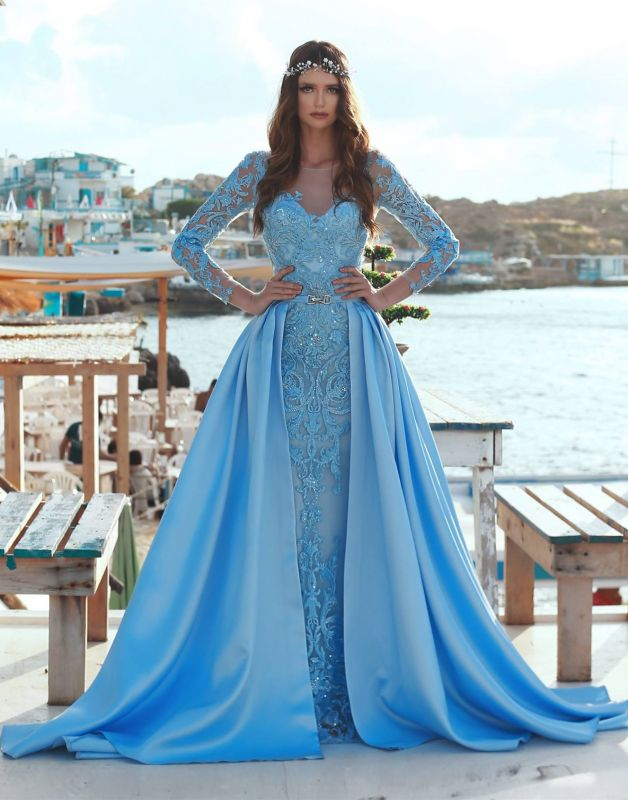 Exquisite Bateau Long Sleeves Evening Dress | Lace Applique Overskirt Prom Gown