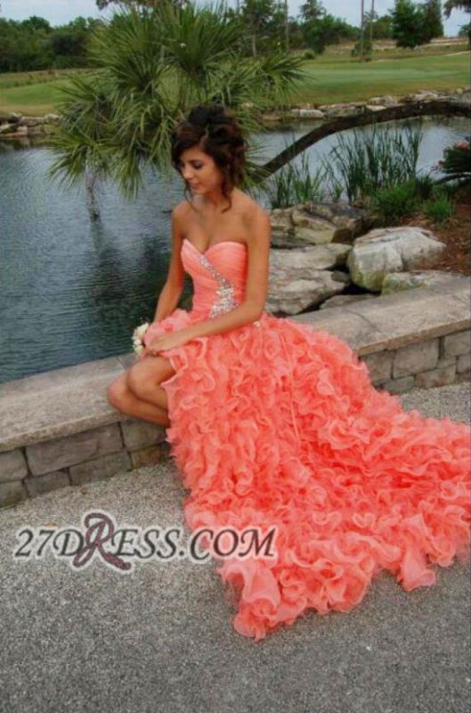 Modern Sweetheart Sleeveless Hi-Lo Prom Dress Beadings Lace-up Ruffles Evening Gown