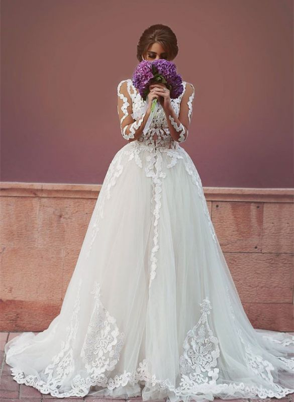 Delicate Tulle Lace Appliques Detached Wedding Dress 2020 Long Sleeve MH053