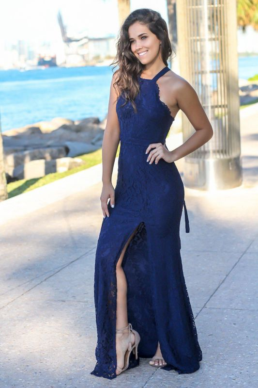 2020 Chic Halter Sleeveless Mermaid Front Split Prom Gown | Long Lace Navy Evening Dress