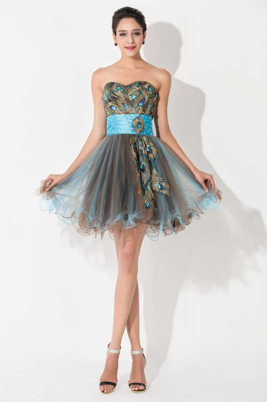 Modern Sweetheart Sleeveless Tulle Homecoming Dress With Peacock Beadings Crystals