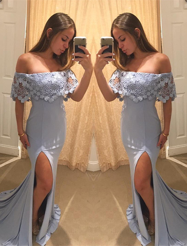 Elegant Off the Shoulder Ruffle Evening Dress Lace Mermaid Long With Split