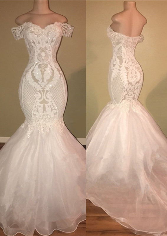 Gorgeous White Off-the-Shoulder 2020 Prom Dress | Mermaid Lace Long Evening Gowns