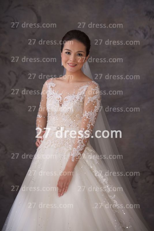 A-line Lace Sequins Beadings Wedding Dresses Appliques Vintage Tulle Sheer Bridal Gowns with Long Sleeves