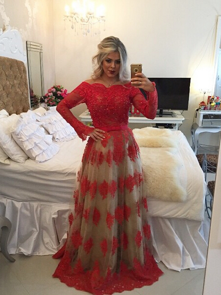 Modern Off-the-shoulder Red Prom Dress 2020 Lace Long Sleeve BA8928