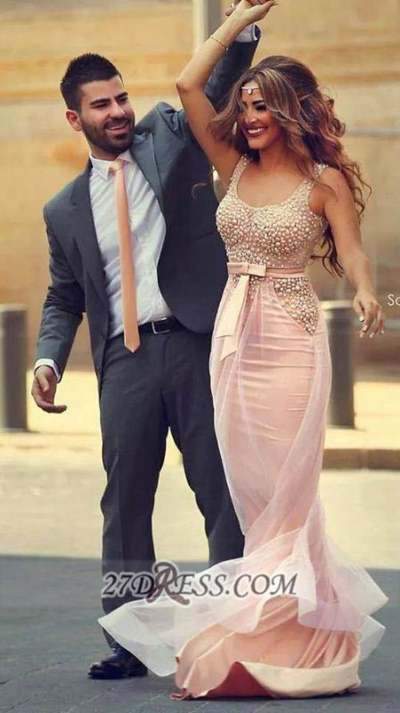 Glamorous Straps Pink Mermaid Prom Dress With Beadings