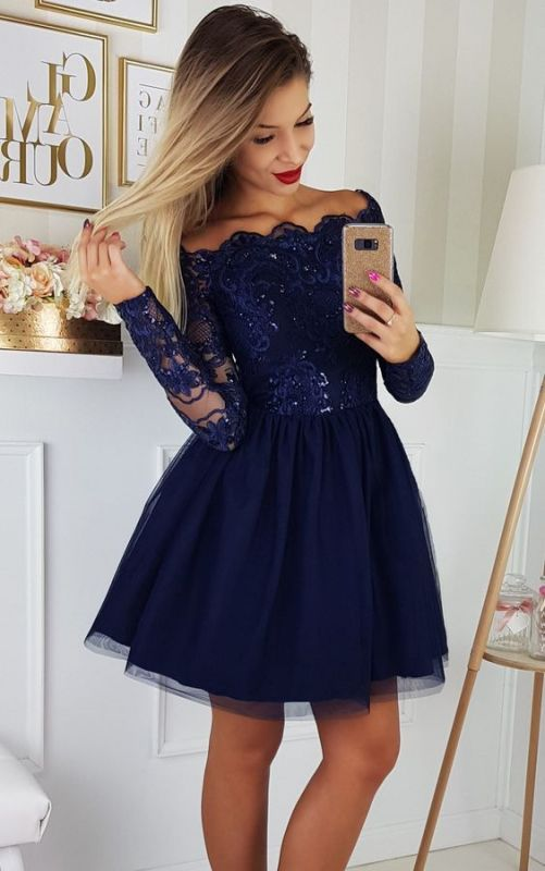 Elegant Long Sleeve Navy Homecoming Dresses   Lace Short Homecoming Dresses On Sale BC0062