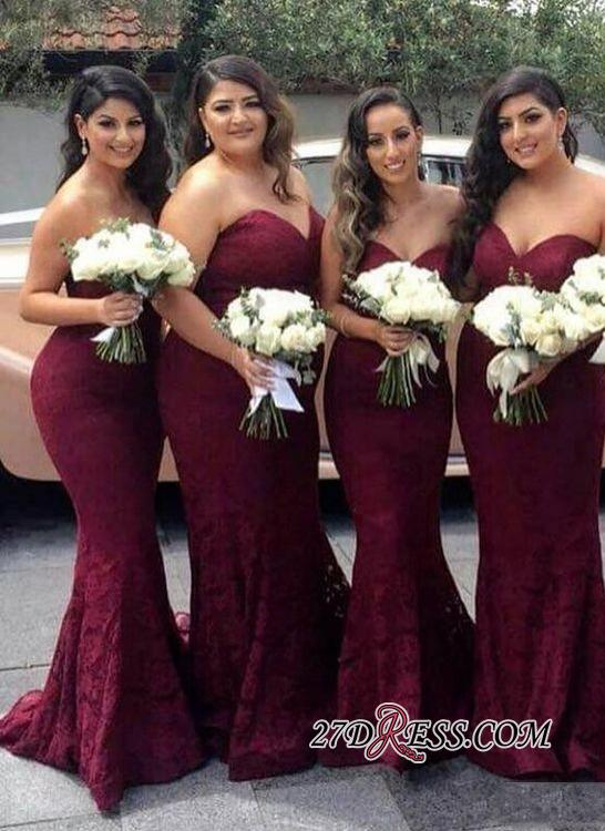 Lace Mermaid Burgundy Sweetheart-Neck Long Bridesmaid Dress LY194