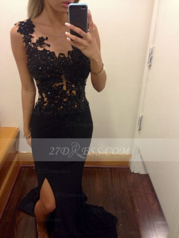Appliques Train Prom Dresses Evening Gowns Black Scoop Sleeveless Sequins Mermaid Side Slit Sweep