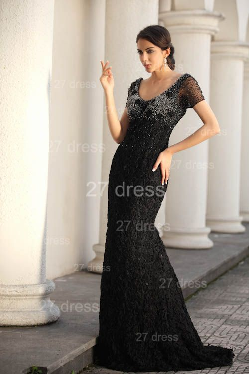 Black Scoop Lace Evening Dresses 2020 Short Sleeve Beadings Mermaid Prom Gowns