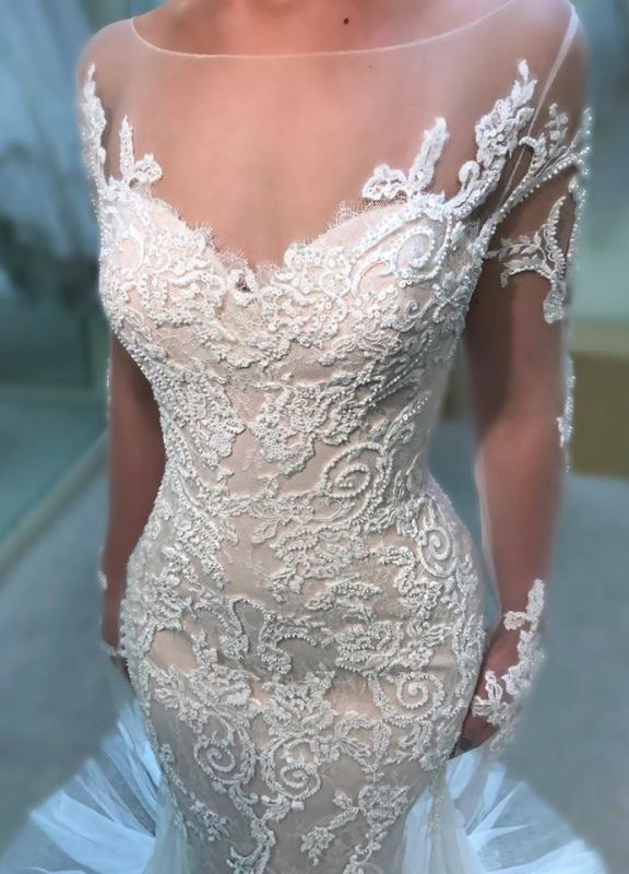 Gorgeous Crew Long Sleeves Mermaid Wedding Dress | Lace Appliques Covered Button Zipper Bridal Gowns