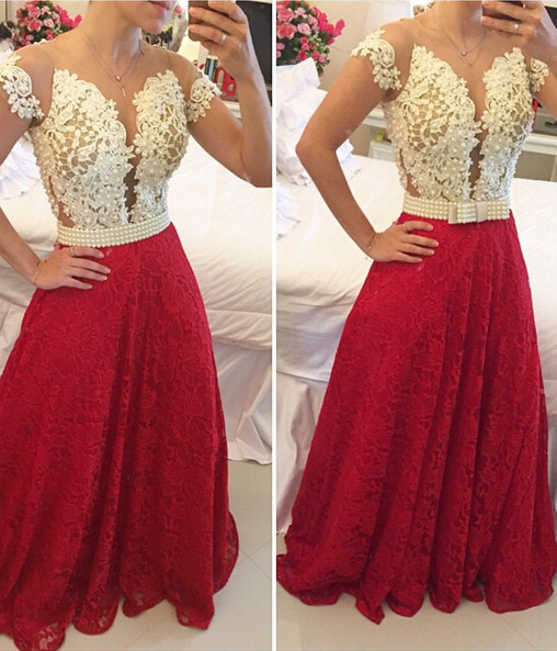 Sexy A-line Lace Appliques Prom Dress 2020 Pearls Cap Sleeve BT0
