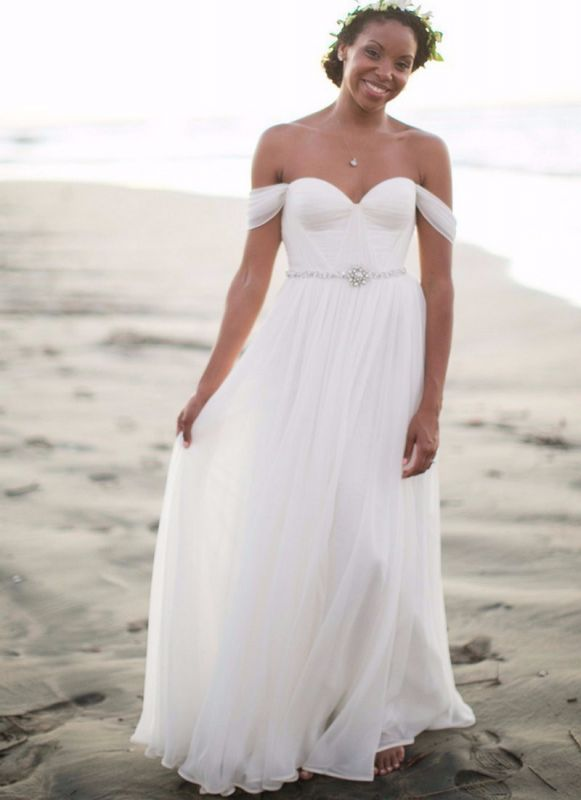 Newest White Off-the-shoulder Chiffon Wedding Dress With Beadings