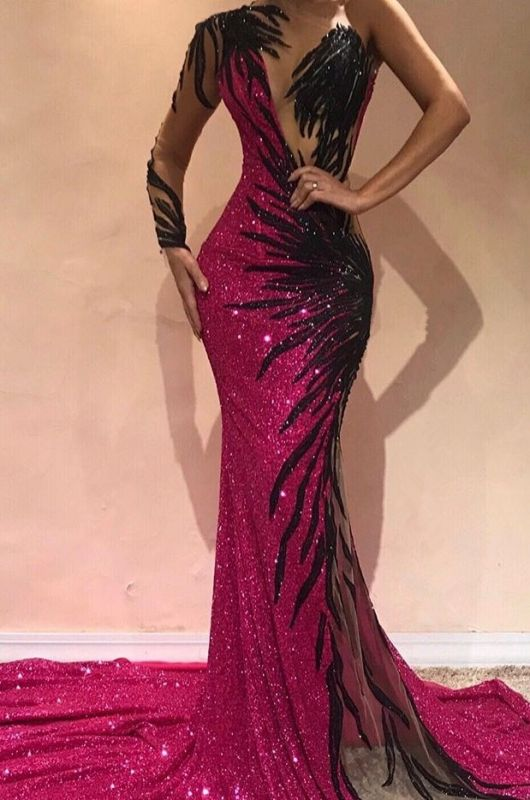 2020 Mermaid One-Shoulder Long Sleeve Front Split Evening Gown | Sexy Sequins Long Prom Dress BC0468