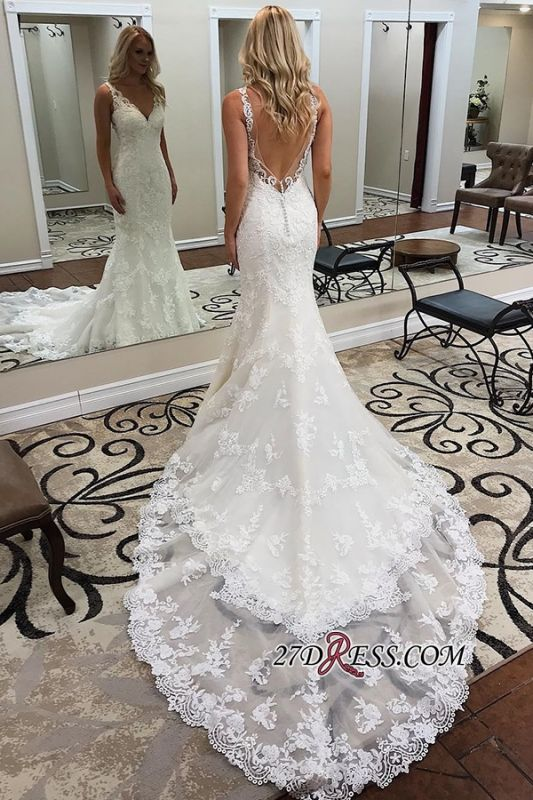 Sheath Alluring Ivory Chapel-Train V-neck Sleeveless Backless Appliques Wedding Dresses
