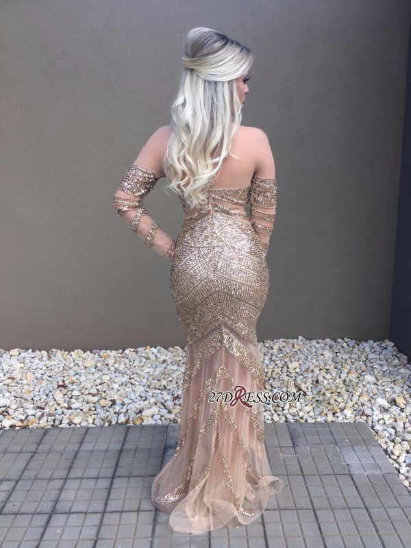 Long sleeve crystal prom dress,formal dresses online