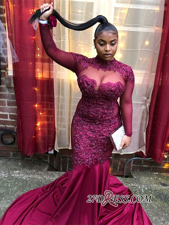 Sexy Long-Sleeves Sheer-Tulle Mermaid Prom Dress | Burgundy High-Neck Applique Long Evening Gown BC4072