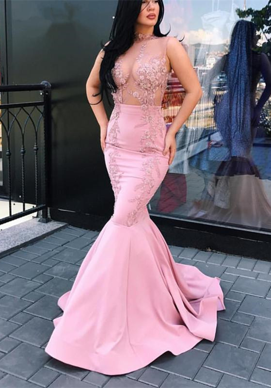 Glamorous Sleeveless Pink Prom Dresses | 2020 Lace Mermaid Long Evening Gowns