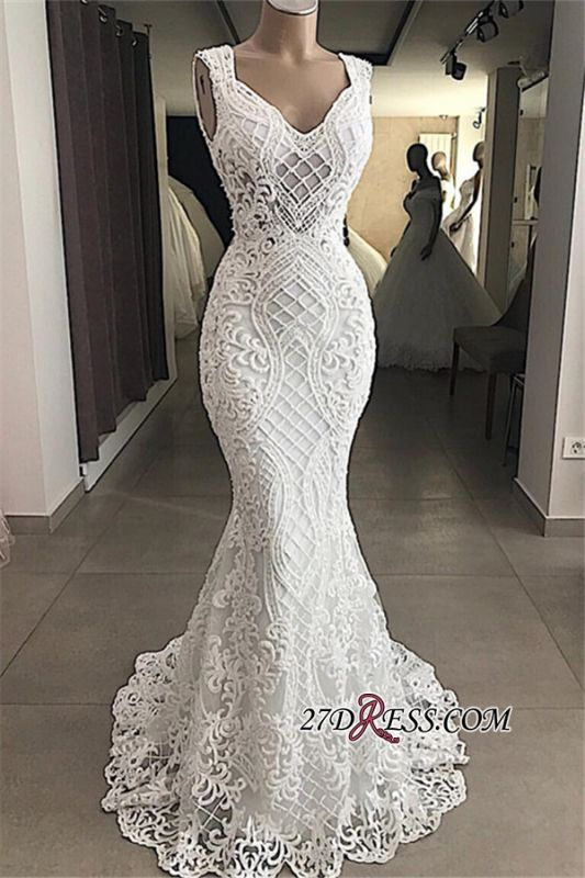 Attractive Sleeveless Mermaid Appliques V-Neck Lace Wedding Dresses