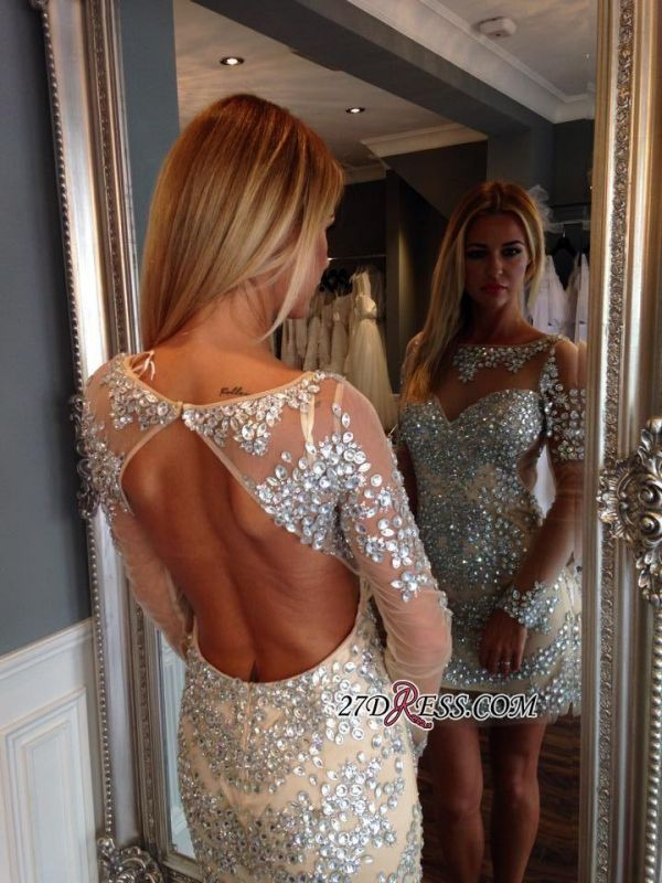 Open-Back Gorgeous Long-Sleeve Crystal Short Homecoming Dress BA1125