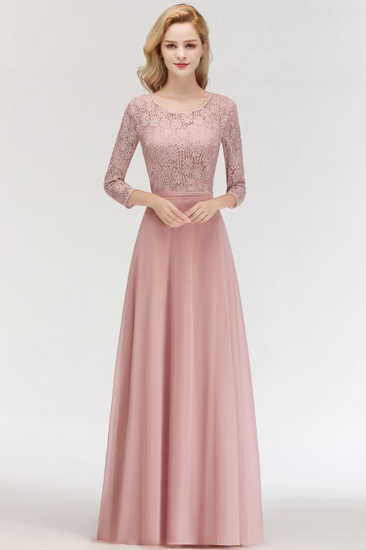 Newest Lace Pink 3/4-length Sleeve Bridesmaid Dress | 2020 Floor-length Dress