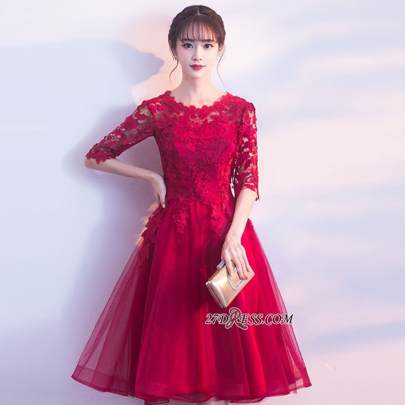 Lace Appliques Knee-Length Half-Sleeves Cheap Elegant Homecoming Dresses