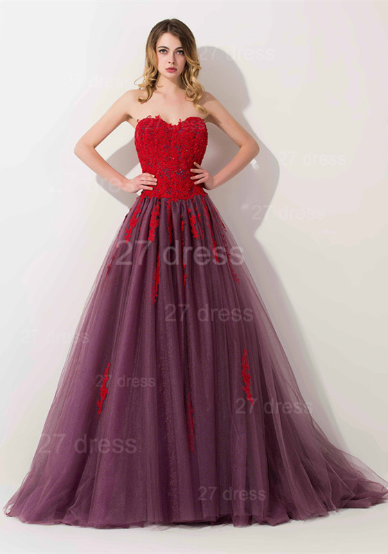 Delicate Lace Appliques Sweetheart Evening Dress Sweep Train