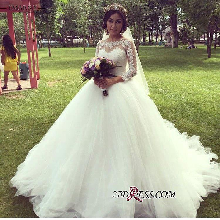 Ball-Gown Long-Sleeve Tulle Glamorous Lace Princess Wedding Dress