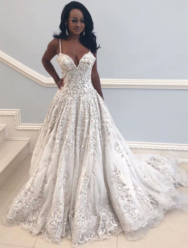 2020 Beautiful Spaghetti-Straps Long Wedding Dress | V-Neck Lace Applique Bridal Gown On Sale