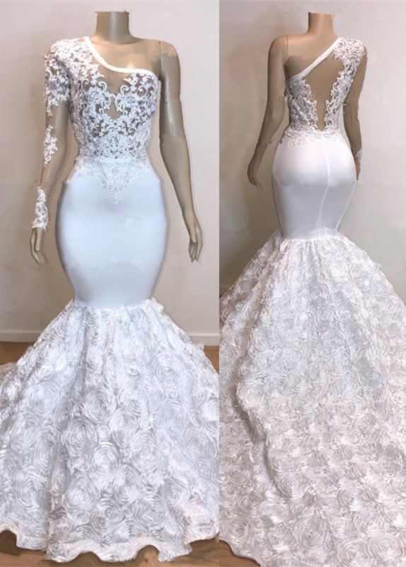 Glamorous One Shoulder Long Sleeve White Prom Dress | 2020 Mermaid Bottom Flowers Lace Evening Gowns BC0963