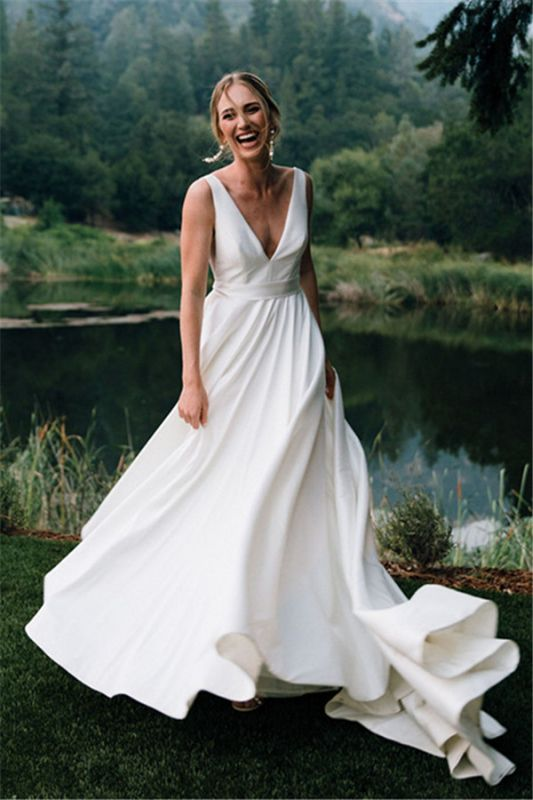 Elegant V-Neck Ruffles A-line Wedding Dress Backless Strap Bridal Gowns