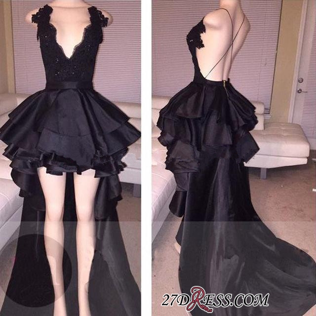 Cocktail Black Layered Lace Sexy Short Hi-Lo Prom Dress