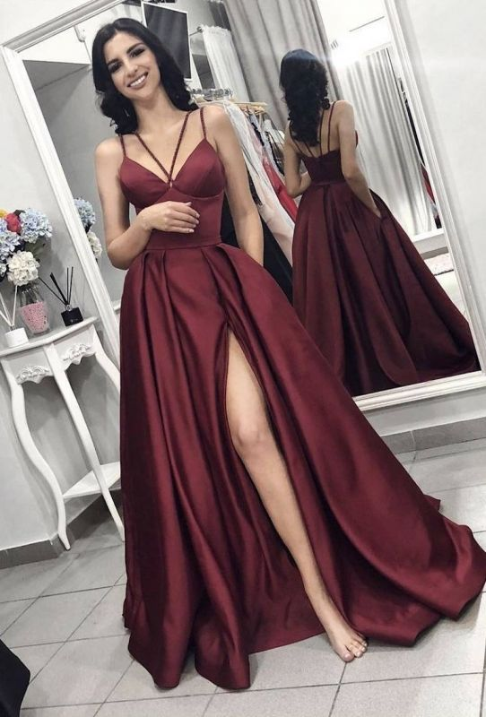 Elegant Burgundy Spaghetti Strap A-Line Evening Dress | Sleeveless Front Split Long Prom Gown BC0797