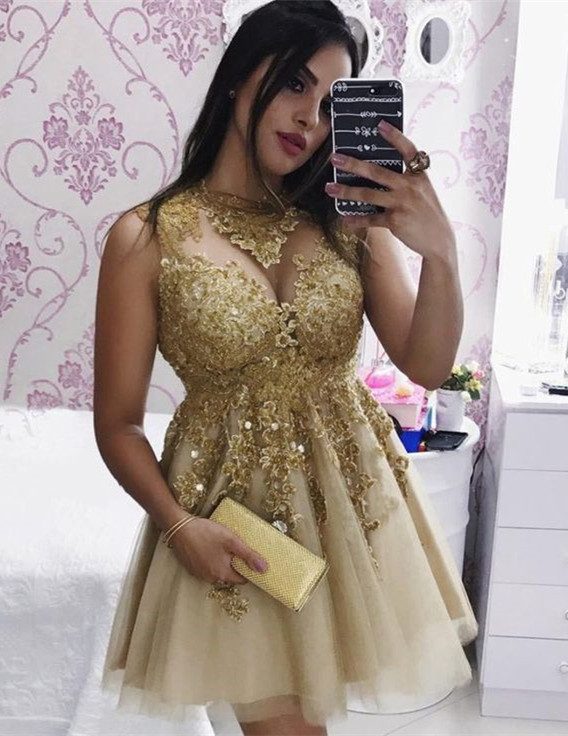 Sexy Gold Lace Sleeveless Short Homecoming Dress | 2020 Party Gown