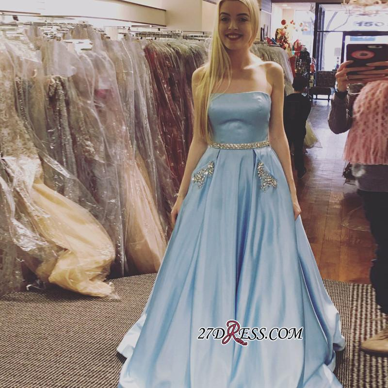 Sleeveless A-line Newest Crystals Sky-Blue Strapless Prom Dress