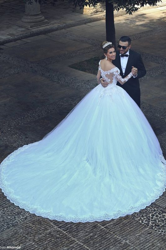 Newest Long Sleeve Tulle Princess Wedding Dress Appliques