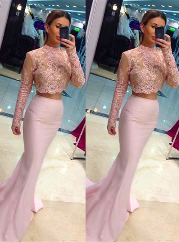 Sexy High Neck Lace Appliques Pink Prom Dress 2020 Mermaid Two Piece
