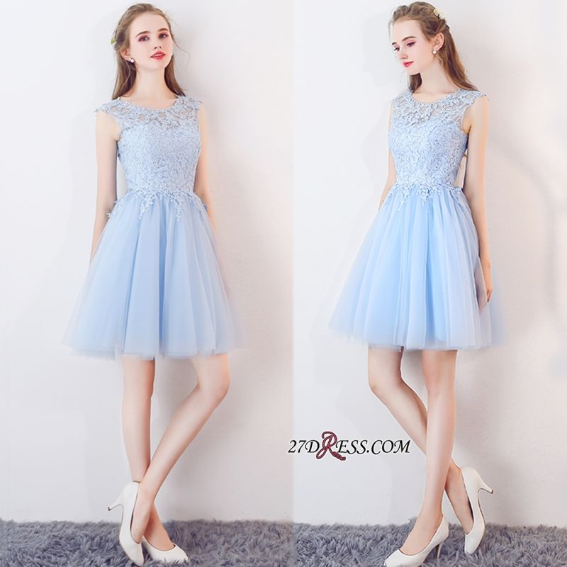 Baby-Blue Sleeveless Short Appliques Lace Tulle Homecoming Dresses